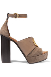 Chloé Chloé C logo-embellished leather and suede platform sandals