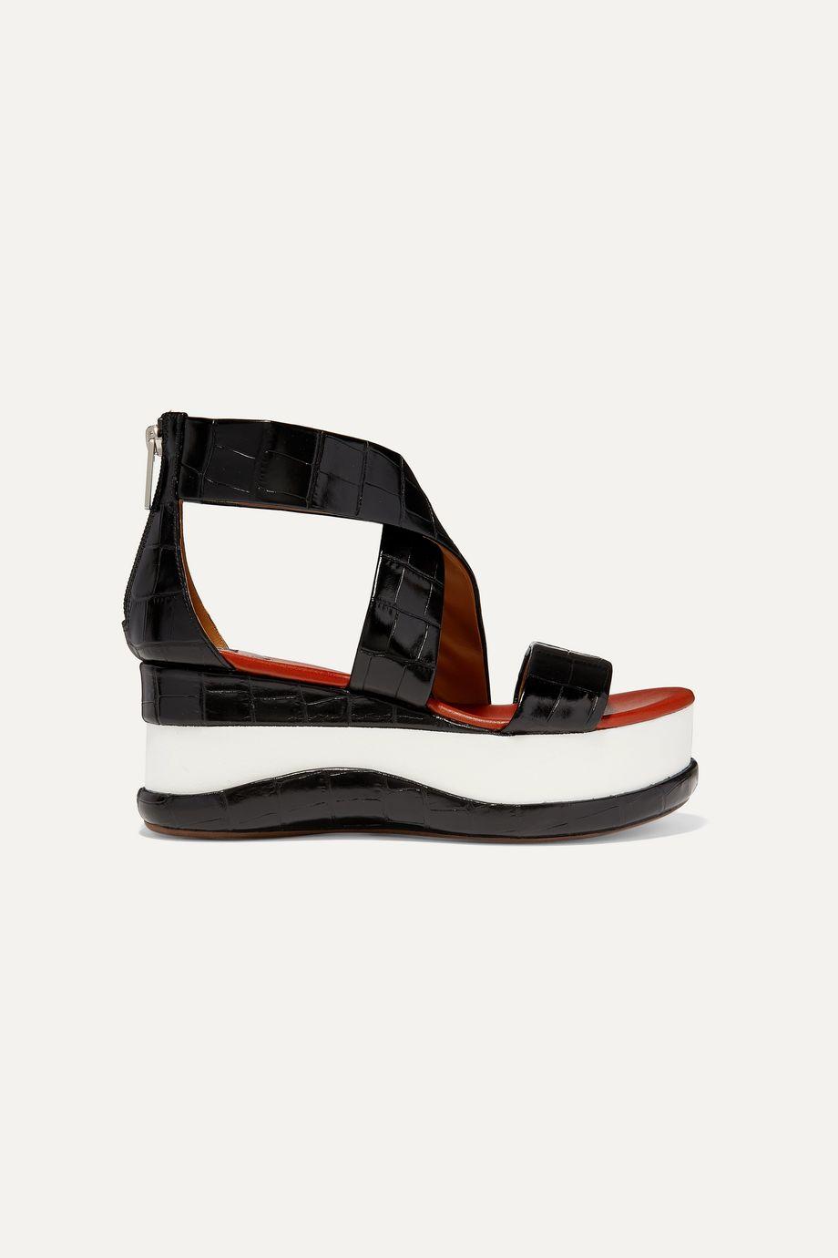 Chloé Wave croc-effect leather platform sandals