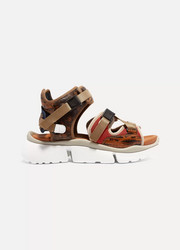 Chloé Sonnie canvas, mesh and snake-effect leather sandals