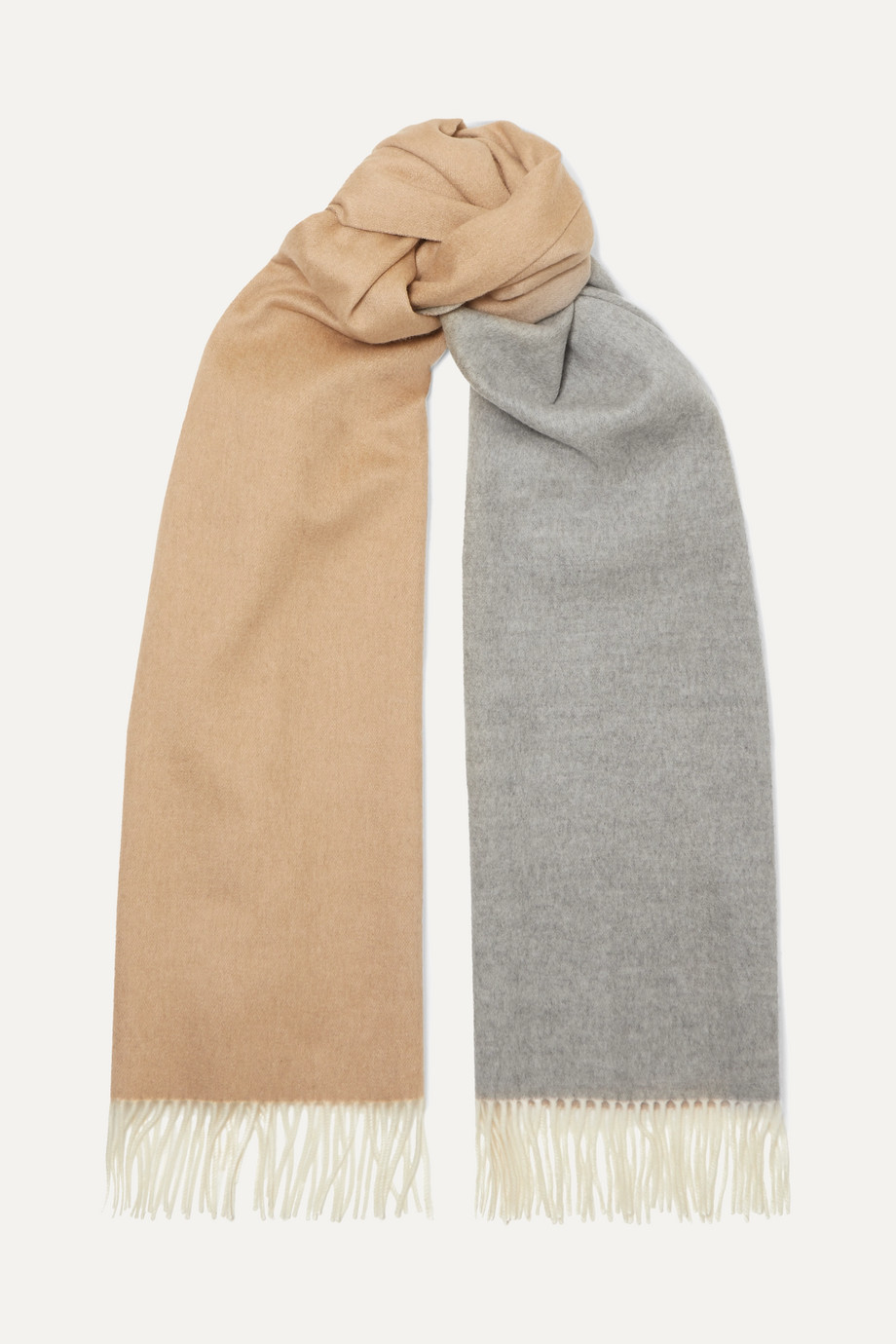Loro Piana Fringed two-tone cashmere scarf