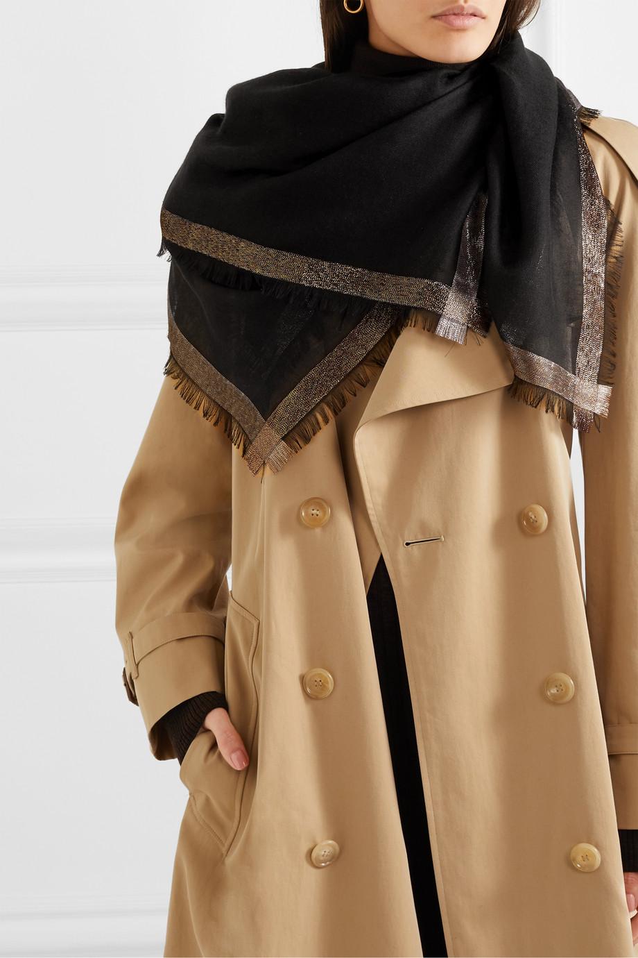 Loro Piana Quadrata Luna fringed metallic cashmere-blend scarf