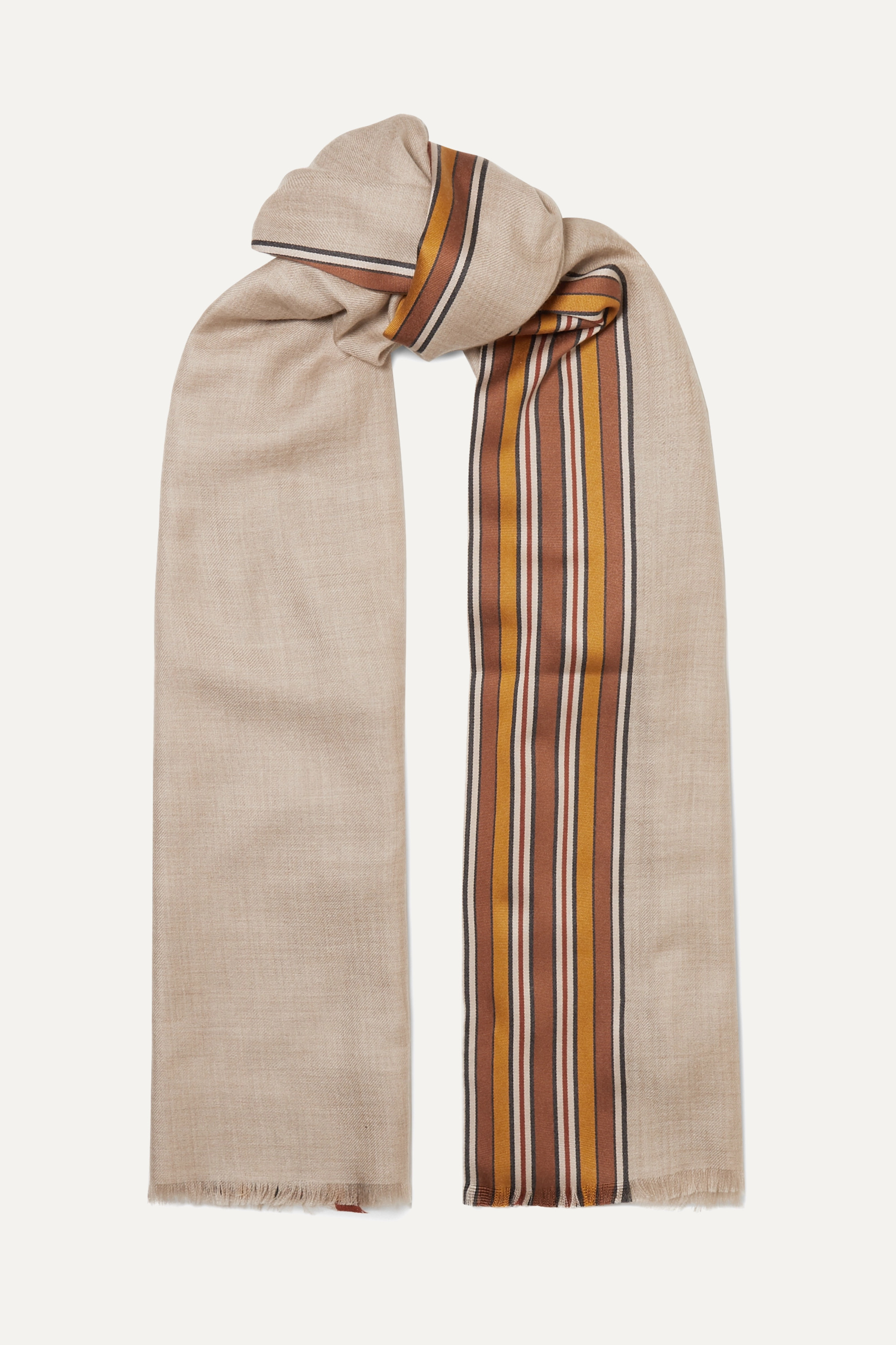 Loro Piana The Suitcase striped silk and cashmere-blend scarf