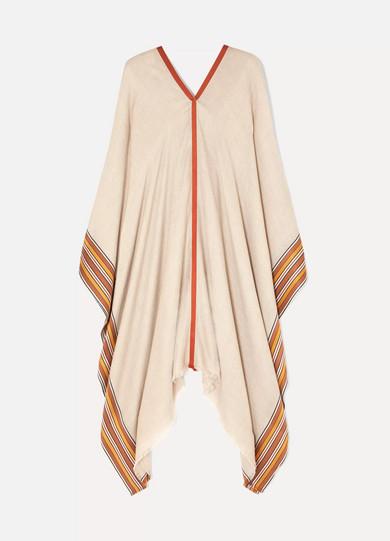 d637e038944 Striped silk and cashmere-blend poncho