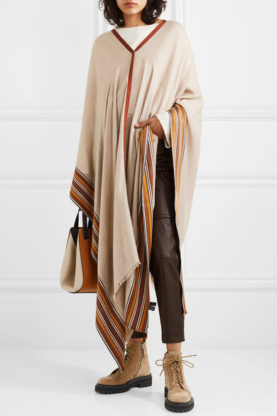 ea6b1f13ca7 Loro Piana | Striped silk and cashmere-blend poncho | NET-A-PORTER.COM
