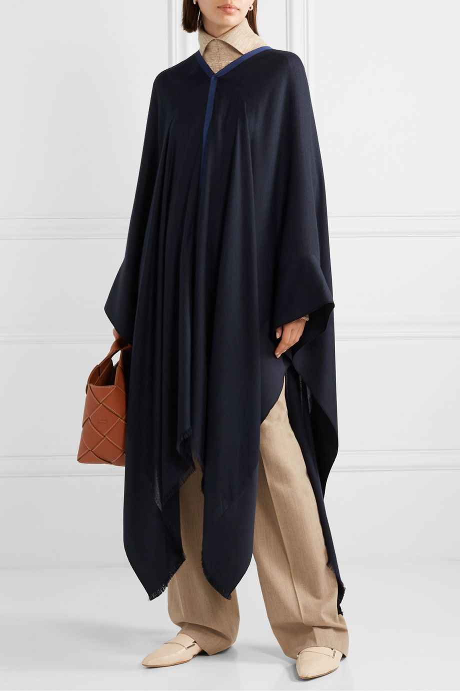 Loro Piana Faille-trimmed silk and cashmere-blend poncho