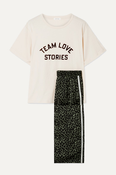 Embroidered Cotton Jersey And Leopard Print Satin Pajama Set by Love Stories
