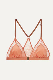 Naomi stretch-lace and satin soft-cup triangle bra