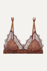 Love lace-trimmed zebra-print stretch-jersey soft-cup triangle bra