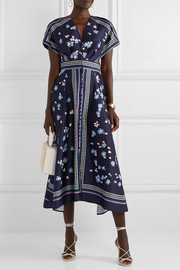 Printed satin-twill midi dress