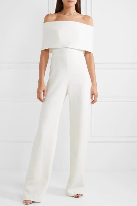 Off-the-shoulder wool-blend cady jumpsuit