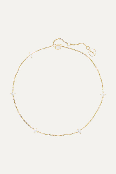 ANISSA KERMICHE | Anissa Kermiche - 14-Karat Gold Sapphire Anklet - One Size | Goxip
