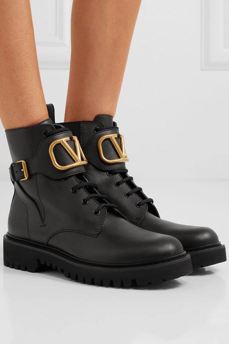 Valentino Garavani Go Logo embellished leather ankle boots