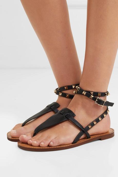 Valentino Garavani The Rockstud textured-leather sandals