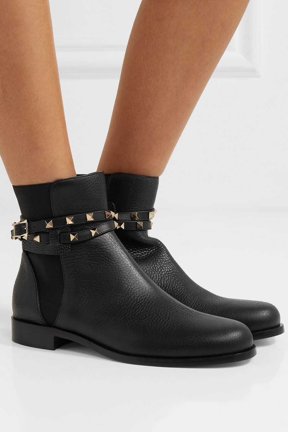 Valentino Valentino Garavani Rockstud textured-leather Chelsea boots