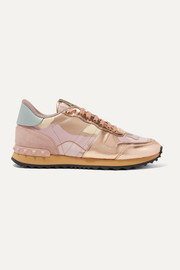 Valentino Valentino Garavani Rockrunner metallic leather and suede-trimmed camouflage-print canvas sneakers