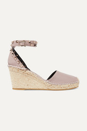 Valentino Valentino Garavani The Rockstud 85 textured-leather wedge espadrilles