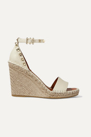 Valentino Garavani The Rockstud 105 textured-leather espadrille wedge sandals