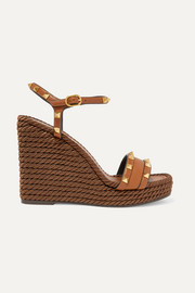 Valentino Valentino Garavani The Rockstud Torchon 115 textured-leather espadrille wedge sandals