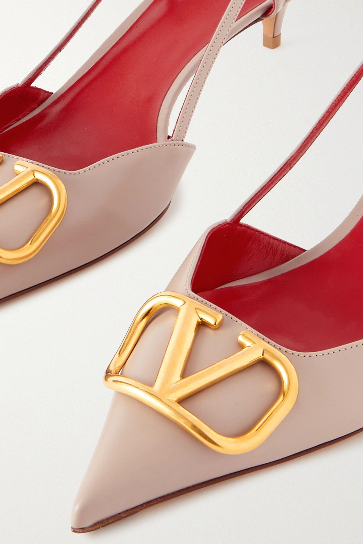 Valentino Valentino Garavani Go Logo 40 embellished leather slingback pumps