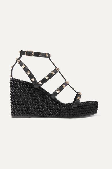 VALENTINO | Valentino - Valentino Garavani The Rockstud 95 Leather Espadrille Wedge Sandals - Black | Goxip