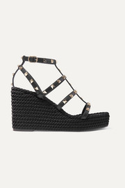 Valentino Garavani The Rockstud 95 leather espadrille wedge sandals