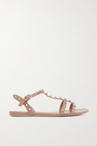 VALENTINO | Valentino - Valentino Garavani The Rockstud Rubber Sandals - Blush | Goxip