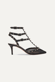 Valentino Garavani The Rockstud 65 mesh and leather pumps