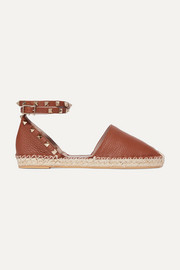 Valentino Garavani The Rockstud Double textured-leather espadrilles