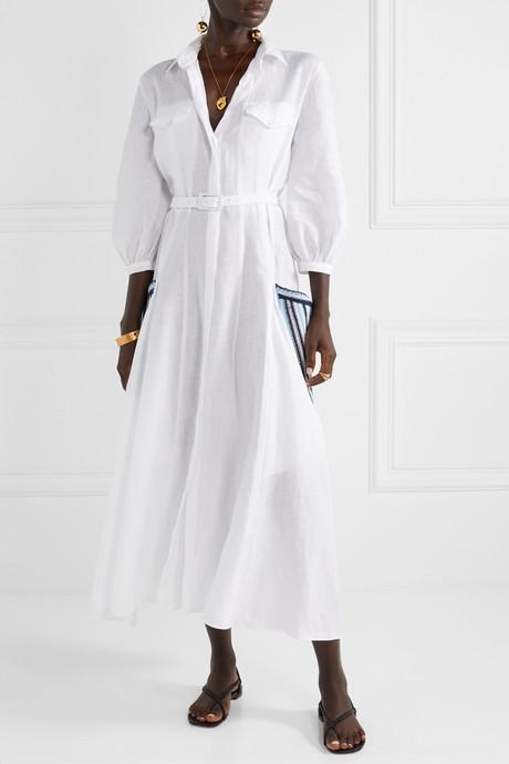 Woodward belted crochet-trimmed linen midi dress