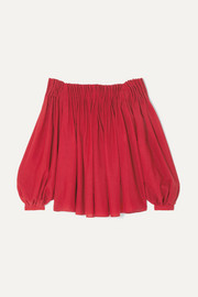 Gabriela Hearst Otalora off-the-shoulder pleated wool and cashmere-blend top