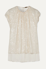 Gathered sequined crepe top