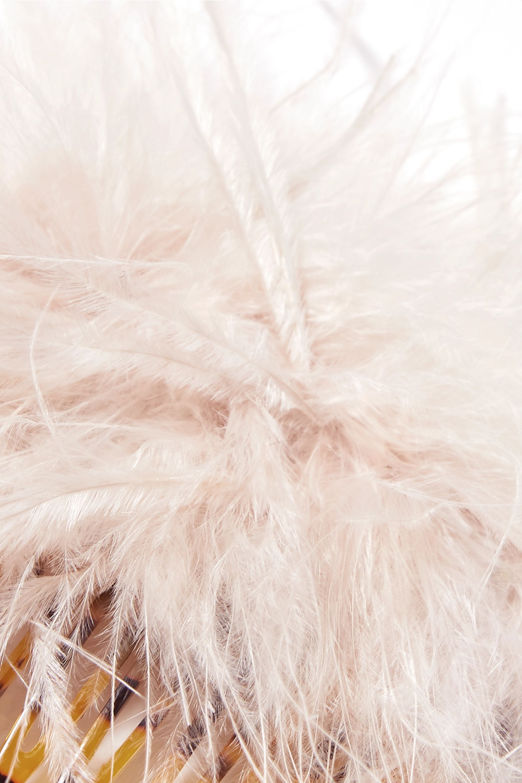Loeffler Randall Josie feather-embellished tortoiseshell acetate hair slide