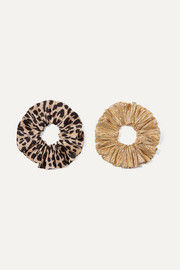 Hailey set of two leopard-print satin and lamé hair ties