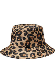 Leopard-print shell bucket hat