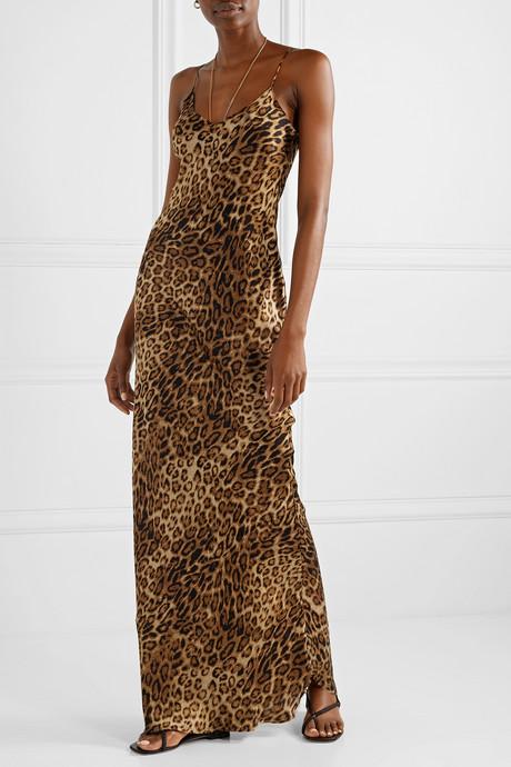 Leopard-print silk-satin maxi dress