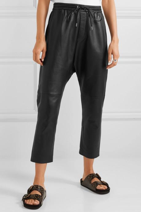 Monaco leather straight-leg pants