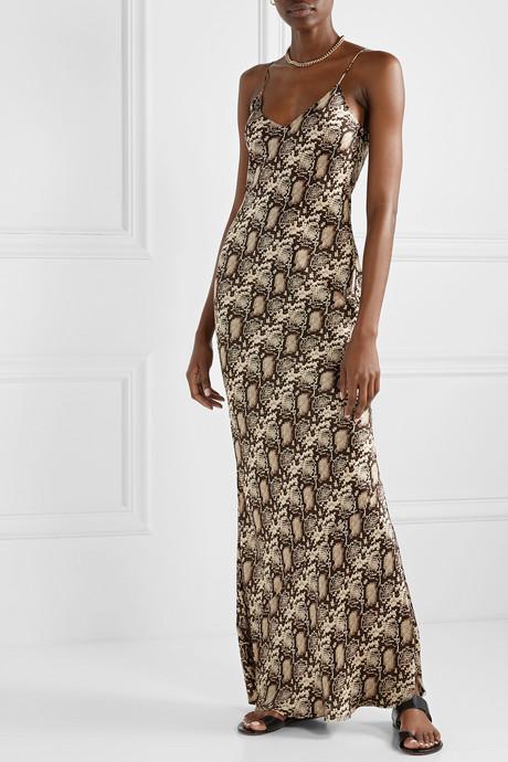Snake-print silk-satin maxi dress