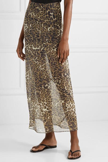 Ella leopard-print silk-chiffon maxi skirt