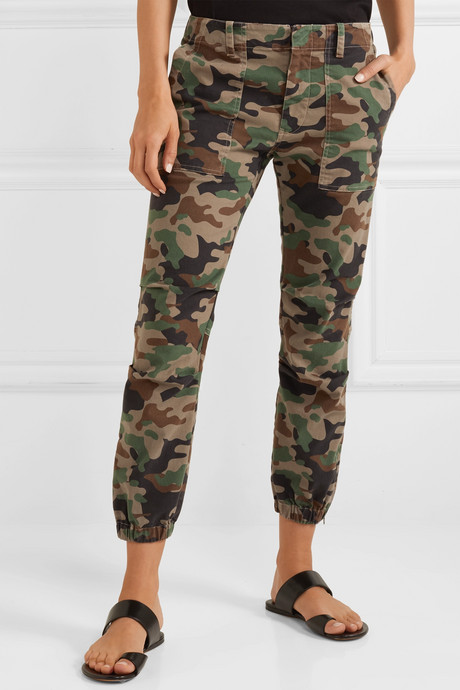 French Military cropped camouflage-print stretch-cotton twill tapered pants