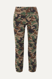 Nili Lotan French Military cropped camouflage-print stretch-cotton twill tapered pants