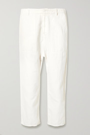 Luna cropped cotton and linen-blend twill pants