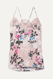 Cami NYC The Racer lace-trimmed floral-print silk-georgette camisole