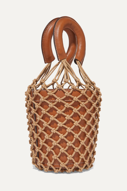 STAUD Moreau leather and macramé bucket bag