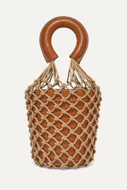 Moreau leather and macramé bucket bag