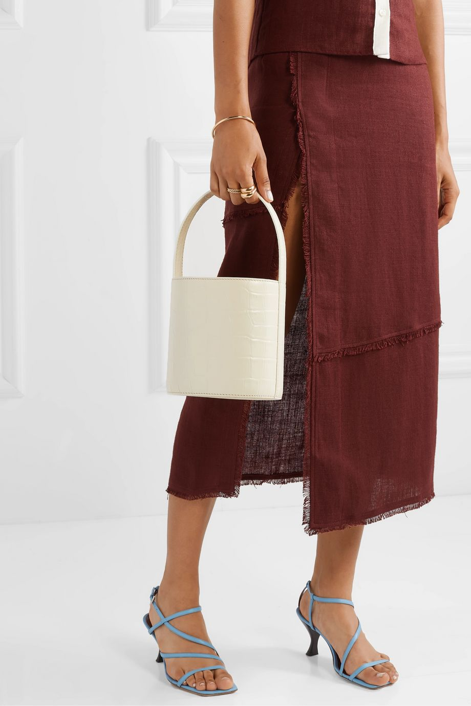 STAUD Bissett croc-effect leather bucket bag