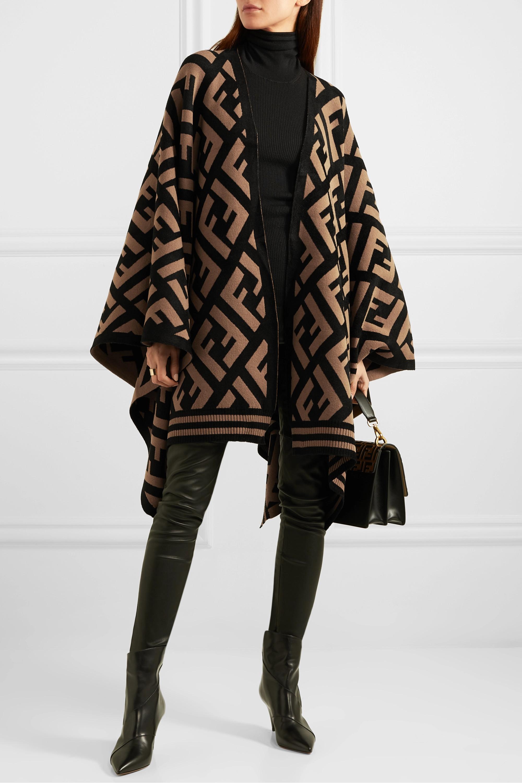 Brown Intarsia Knit Poncho Fendi Net A Porter