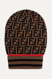 Intarsia cashmere and wool-blend beanie