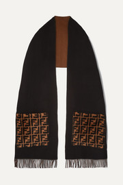 Printed shearling-trimmed fringed wool and cashmere-blend scarf