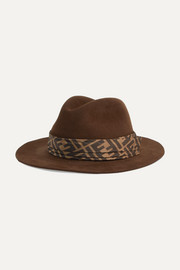 Printed silk twill-trimmed rabbit-felt fedora