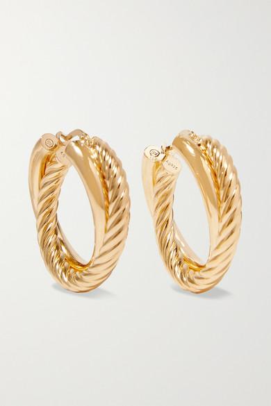 BOTTEGA VENETA | Bottega Veneta - Gold-Plated Hoop Earrings - One Size | Goxip